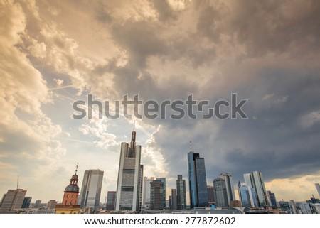frankfurt am main germany skyline sundown cloudscape - stock photo