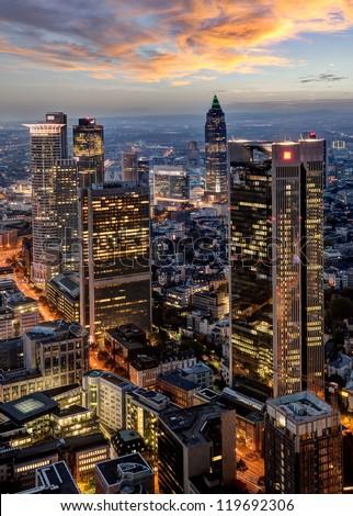 Frankfurt at Night - stock photo