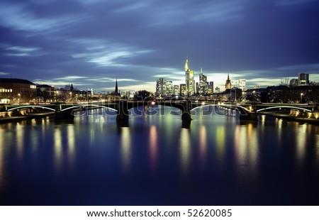 Frankfurt city on sunset - stock photo