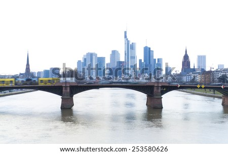 Frankfurt city skyline in high key photography - stock photo
