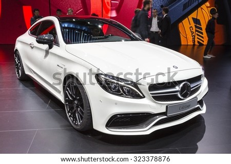 Frankfurt, Deutschland - September 15, 2015: 2016 Mercedes-AMG C63S Coupe presented on the 66th International Motor Show in the Messe Frankfurt