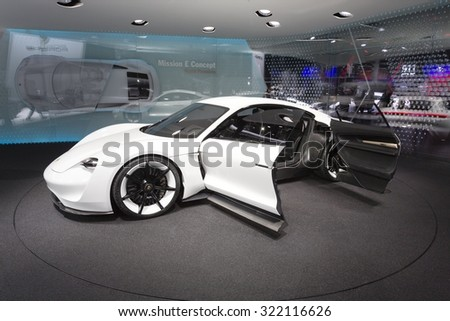 Frankfurt, Deutschland - September 15, 2015: 2015 Porsche Mission E Concept presented on the 66th International Motor Show in the Messe Frankfurt - stock photo