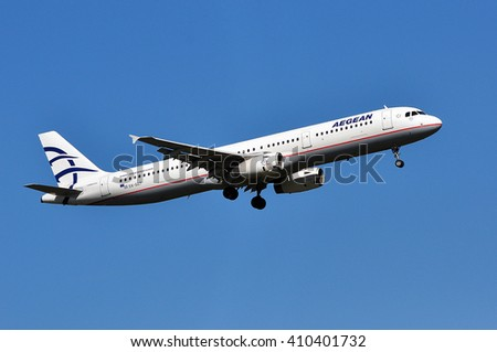 FRANKFURT,GERMANY-APRIL 21:Airbus A321of AEGEAN Airlines over Frankfurt airport on April 21,2015 in Frankfurt,Germany.Aegean Airlines S.A. is the largest Greek airline.