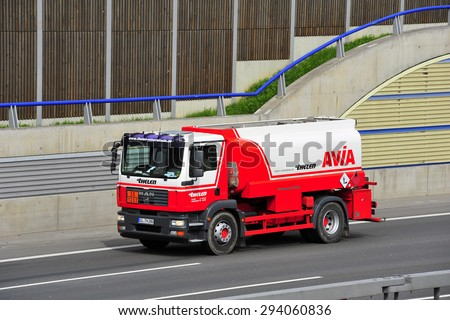 FRANKFURT,GERMANY - APRIL 16: oil truck on of AVIA the highway on April 16,2015 in Frankfurt, Germany.