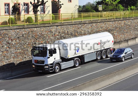 FRANKFURT,GERMANY - APRIL 24:oil truck on the highway on April 24,2015 in Frankfurt, Germany.