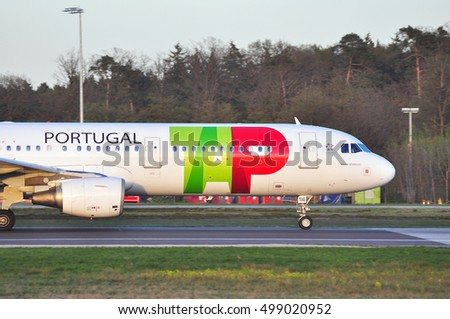 FRANKFURT,GERMANY-APRIL 21:TAP Portugal Airlines airbus A321 on the runway on April 21,2016 in Frankfurt,Germany.TAP is the flag carrier airline of Portugal.