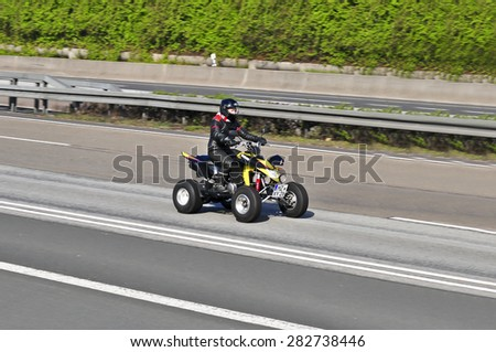 FRANKFURT,GERMANY - APRIL 10:unknown rider on the highway on April 10,2015 in Frankfurt, Germany