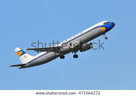 FRANKFURT,GERMANY-AUG 18: LUFTHANSA Airbus A321 after take in the Frankfurt airport on August 18,2016 in Frankfurt,Germany.Lufthansa is a German airline and also the largest airline in Europe.