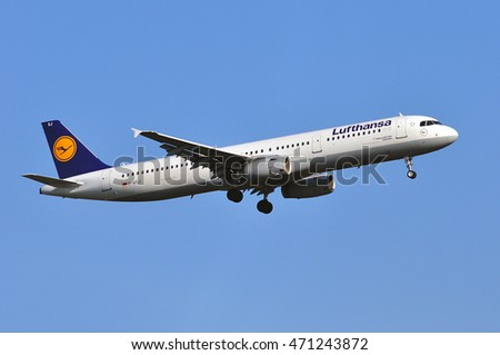 FRANKFURT,GERMANY-AUG 18: LUFTHANSA Airbus A321-200 after take in the Frankfurt airport on August 18,2016 in Frankfurt,Germany.Lufthansa is a German airline and also the largest airline in Europe.