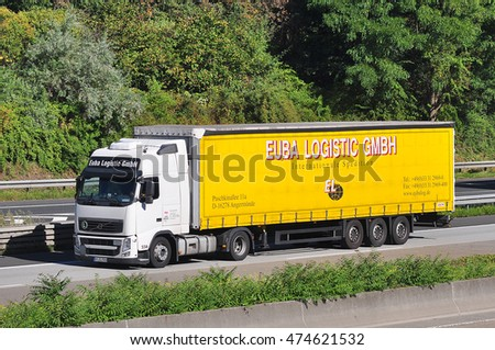 FRANKFURT,GERMANY - AUG 25: truck on the highway on August 25,2016 in Frankfurt, Germany.