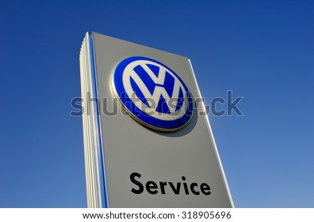 FRANKFURT,GERMANY-AUG 08:Volkswagen logo on August 08,2015 in Frankfurt,Germany. Volkswagen is a German automobile manufacturer headquartered in Wolfsburg, Lower Saxony, Germany.