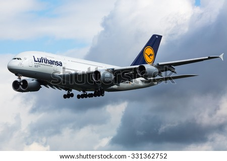 FRANKFURT,GERMANY-AUGUST 23:Airbus A380 LUFTHANSA approaching airport on August 23,2014 in Frankfurt,Germany. - stock photo