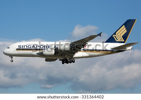 FRANKFURT,GERMANY-AUGUST 24:Airbus A380 Singapore Airlines approaching airport on August 24,2014 in Frankfurt,Germany. - stock photo