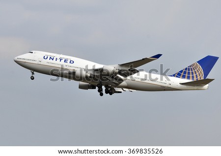 FRANKFURT,GERMANY-AUGUST 10: airplane of United Airlines in Frankfurt airport on August 10,2015 in Frankfurt,Germany.United is a major American airline carrier headquartered in Chicago, Illinois. - stock photo