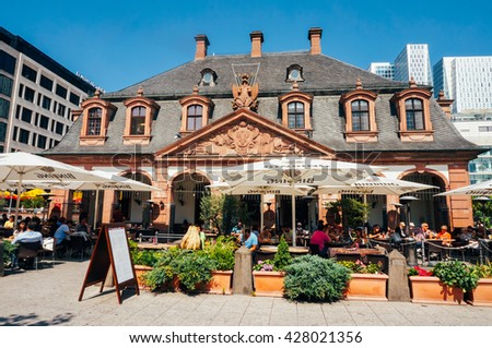 FRANKFURT, GERMANY- AUGUST 22 , 2015: Frontal view of baroque building ,Hauptwache, located in the center of Frankfurt. - stock photo