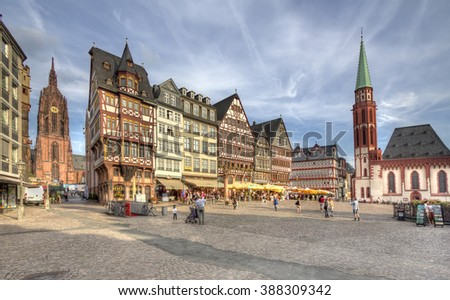 Frankfurt, Germany - August 29, 2013: Historical buildings and churches on the town square in Frankfurt, Germany on August 29, 2013.
