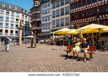 FRANKFURT, GERMANY- AUGUST 22 , 2015: Old half-timbered houses of Romer Square - stock photo