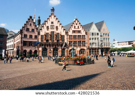 FRANKFURT, GERMANY- AUGUST 22, 2015 : Old traditional buildings in Frankfurt, Germany in a summer day. - stock photo