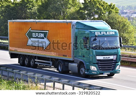 FRANKFURT,GERMANY-AUGUST 05: truck on the highway on August 05,2015 in Frankfurt,Germany.