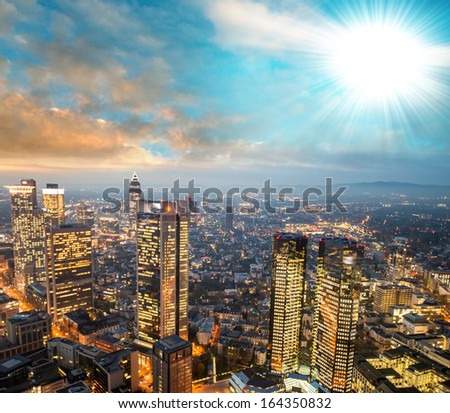 Frankfurt, Germany. Beautiful city skyline at sunset. - stock photo