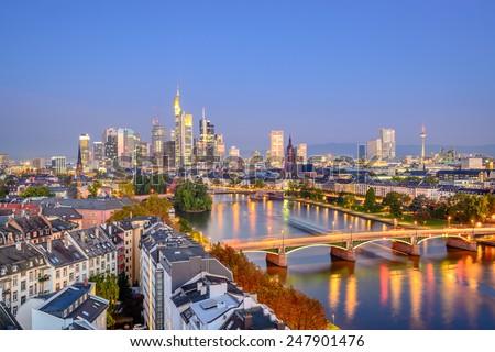 Frankfurt, Germany city skyline over the Main River. - stock photo