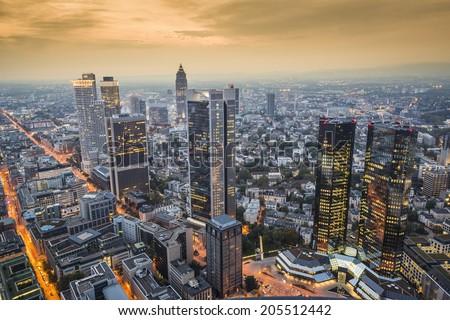 Frankfurt, Germany Cityscape at dusk. - stock photo