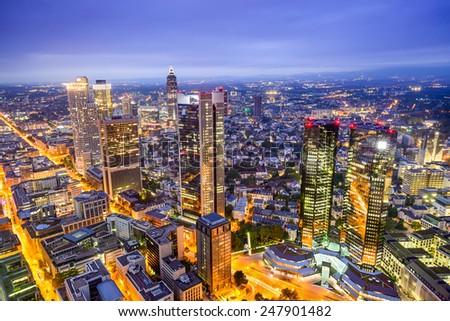 Frankfurt, Germany downtown financial district skyline. - stock photo