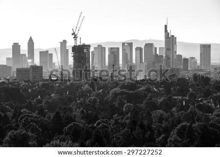 frankfurt germany evening skyline in black and white - stock photo