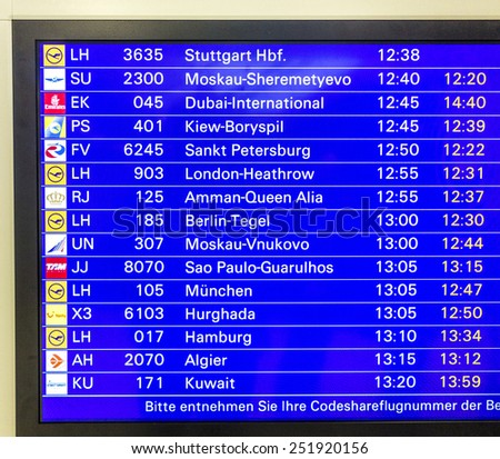 FRANKFURT, GERMANY - FEB  1, 2015: panel with arriving flights and actual status at Rhein Main Airport  in Frankfurt, Germany. Rhein Main Airport is the biggest Airport in Germany and open 24 7.