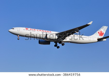 FRANKFURT,GERMANY-FEBR 25:airplane of Air CANADA above the Frankfurt airport on February 25,2016 in Frankfurt,Germany.Air Canada is the flag carrier and largest airline of Canada.