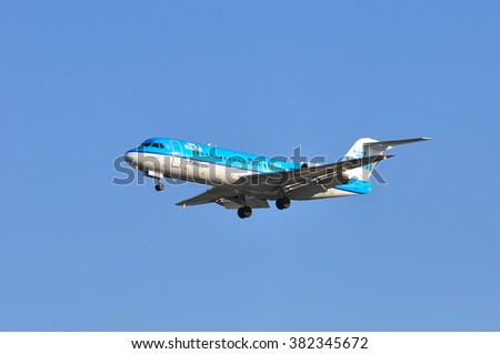 FRANKFURT,GERMANY-FEBR 25:Airplane of KLM above the Frankfurt airport on February 25,2016 in Frankfurt,Germany.KLM is the flag carrier airline of the Netherlands.