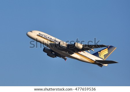 FRANKFURT,GERMANY-FEBR 25:Singapore Airlines Limited Airbus A380 over the Frankfurt airport on February 25,2016 in Frankfurt,Germany.Singapore Airlines Limited is the flag carrier of Singapore.