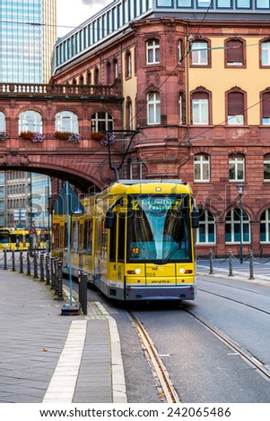 FRANKFURT, GERMANY - JULY 9: Electric tram in Frankfurt, Germany  in a summer day on July 9, 2014