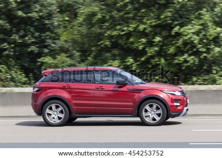 FRANKFURT, GERMANY - JULY 12, 2016: Range Rover Evoque on the highway in Germany