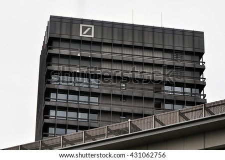 FRANKFURT,GERMANY- JUNE 023:DEUTSCHE Bank on June 02,201 in Frankfurt, Germany.Deutsche Bank AG is a German global banking and financial services company with its headquarters in Frankfurt.