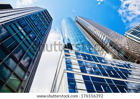 FRANKFURT, GERMANY - JUNE 30: Main Tower on June 30, 2013 in Frankfurt. The Main Tower with 200 meters is the 4th highest building in Germany and housed banks, law firms and the Hessian Radio Station. - stock photo
