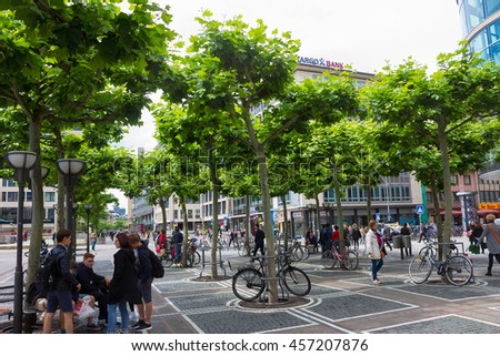 Frankfurt, Germany - June 15, 2016: people walk along the Zeil in Midday