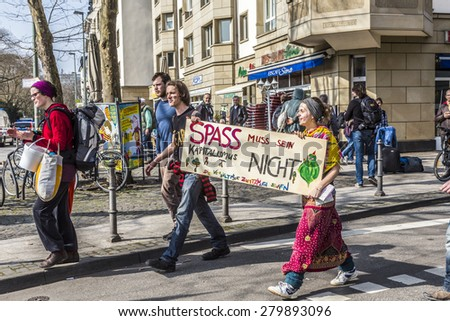 FRANKFURT, GERMANY - MAR 18, 2015: people demonstrate against EZB and Capitalism in Frankfurt, Germany. 30 tsd. people join the demo. - stock photo