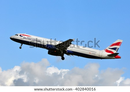 FRANKFURT,GERMANY-MARCH 10:airplane of British Airways above the Frankfurt airport on March 10,2016 in Frankfurt,Germany.British Airways is the flag carrier airline of the United Kingdom. - stock photo
