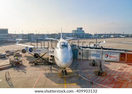 FRANKFURT, GERMANY - MARCH 13, 2016: Lufthansa aircraft docked in Frankfurt Airport. Frankfurt Airport is a major international airport located in Frankfurt