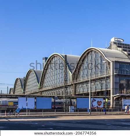 FRANKFURT, GERMANY - MARCH 2, 2013: outside the Frankfurt central station in Frankfurt, Germany. With about 350.000 passengers per day its the most frequented railway station in Germany.