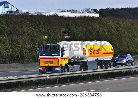 FRANKFURT,GERMANY - MARCH 28:Shell Oil Truck on the highway on March 28,2015 in Frankfurt, Germany.Royal Dutch Shell plc, commonly known as Shell, is an Anglo�Dutch multinational oil and gas company.  - stock photo
