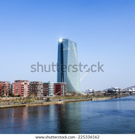 FRANKFURT, GERMANY - MARCH 8, 2014: The new European Central Bank Headquarters under construction in Frankfurt, Germany. The 500 million euro project will be completed in mid 2014.