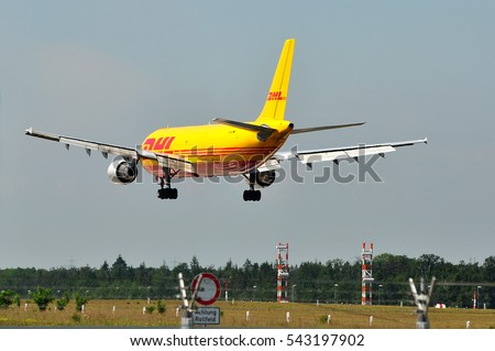 FRANKFURT,GERMANY-MAY 26:Airbus A300B4-622R from DHL  lands at Frankfurt airport on May 26,2016 in Frankfurt,Germany.DHL Express is a division of the German logistics company Deutsche Post DHL.