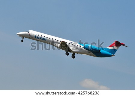 FRANKFURT,GERMANY-MAY 13:airplane of Luxair above the Frankfurt airport on May 13,2015 in Frankfurt,Germany.Luxair is the flag carrier airline of Luxembourg.