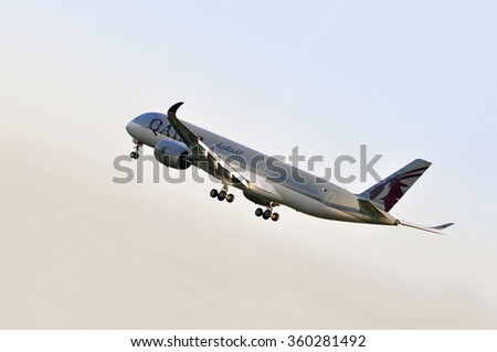 FRANKFURT,GERMANY-MAY 13: airplane of Qatar Airways above the Frankfurt airport on May 13,2015 in Frankfurt,Germany. Qatar Airways is the national airline of Qatar, based in Doha.