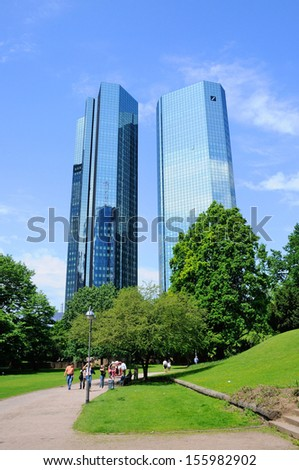 FRANKFURT, GERMANY - MAY 20: Deutsche Bank Skyscrapers on May 20, 2012 in Frankfurt am Main