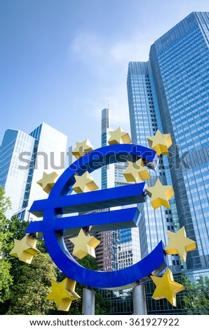 Frankfurt, Germany-May 17 : Euro Sign. European Central Bank (ECB) is the central bank for the euro and administers the monetary policy of the Eurozone. May 17, 2015 in Frankfurt, Germany.