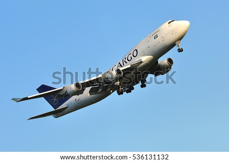 FRANKFURT,GERMANY-MAY 05: Saudia Cargo Boeing 747400SF on May 05,2016 in Frankfurt,Germany.Saudi Airlines Cargo Company (SACC) is a leading cargo carrier based in Saudi Arabia with global reach.