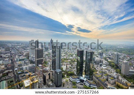 FRANKFURT, GERMANY - MAY 2, 2015:  Summer panorama of the financial district in Frankfurt, Germany. Frankfurt is the Finance Center of Germany and the seat of all German important Banks. - stock photo